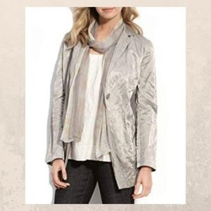 Eileen Fisher Satin Notch Collar Button Jacket